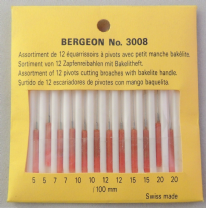 Assortiment de 12 équarrissoirs Bergeon 3008  ø 0.05 à 0.20 mm